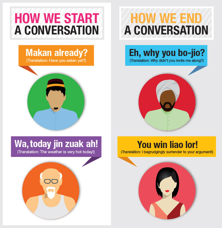 Singaporean slang and Singlish phrases translated to English: 'Bojio' and 'Makan'