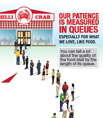 Singapore Culture: Singaporeans love to queue - We tell the quality of the food stall by the length of it's queue