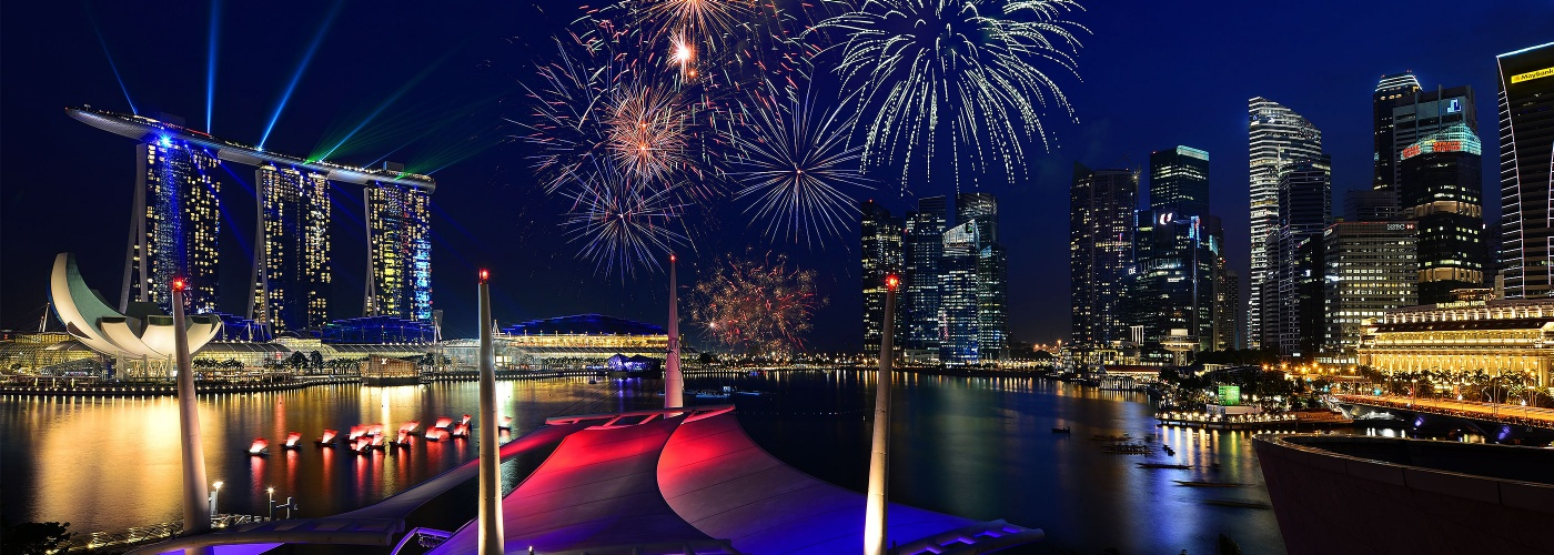 Fireworks lighting up the night sky during Singapore's National Day