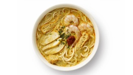 Flat lay of a bowl of laksa with prawns, fish cake slices and garnishing