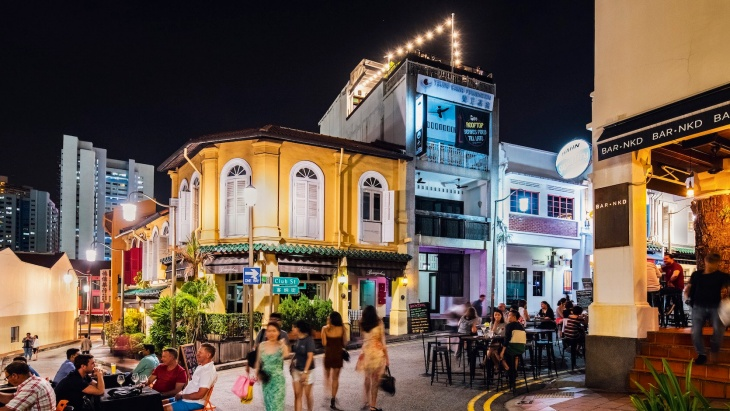 Night shot of shophouses along Ann Siang and Club Street
