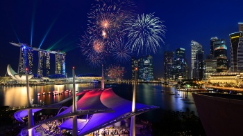 View of fireworks from Esplanade waterfront
