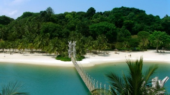 Bridge to the Southernmost Point of Southeast Asia, at Palawan Beach Sentosa