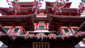 Exterior close up of Buddha Tooth Relic Temple's rooves