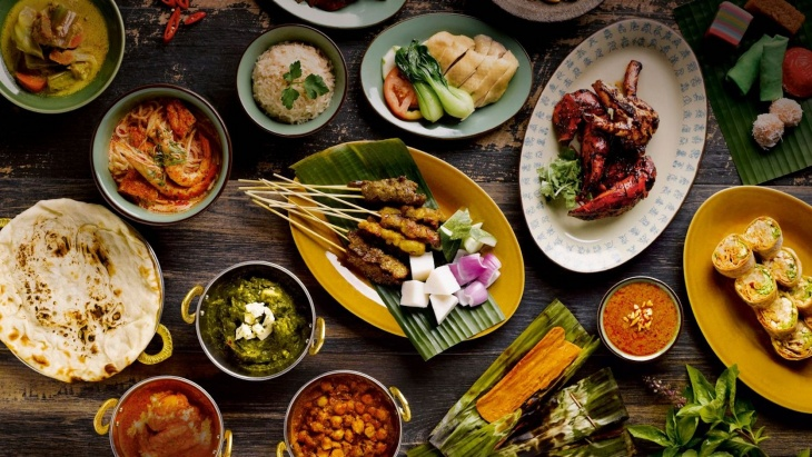 A variety of Singapore local dishes on a table