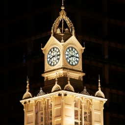 Iconic clock tower of Lau Pa Sat food centre.