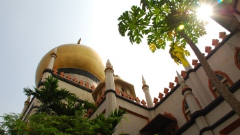 Wide shot of the golden dome of Sultan Mosque at Kampong Gelam