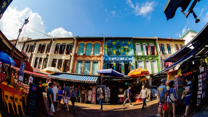 A row of colourful shophouses in Chinatown