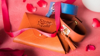 a leather pouch and strap from Stone for Gold