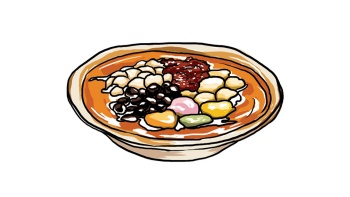 A bowl of <i>cheng teng</i>, a traditional and healthy Chinese dessert soup served with gingko nuts, lotus seeds, longans, red dates and white fungues.