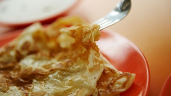 Close up shot of roti prata
