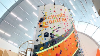 Indoor rock wall by Climb Central