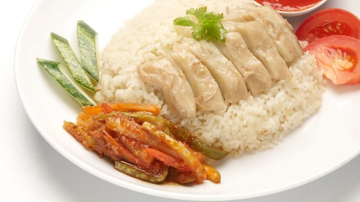 A plate of chicken rice