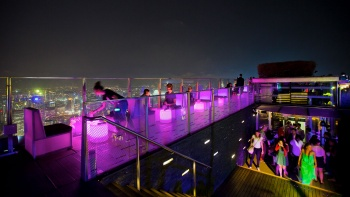 Lower and upper decks of the highest al fresco bar, 1-Altitude Rooftop Gallery & Bar