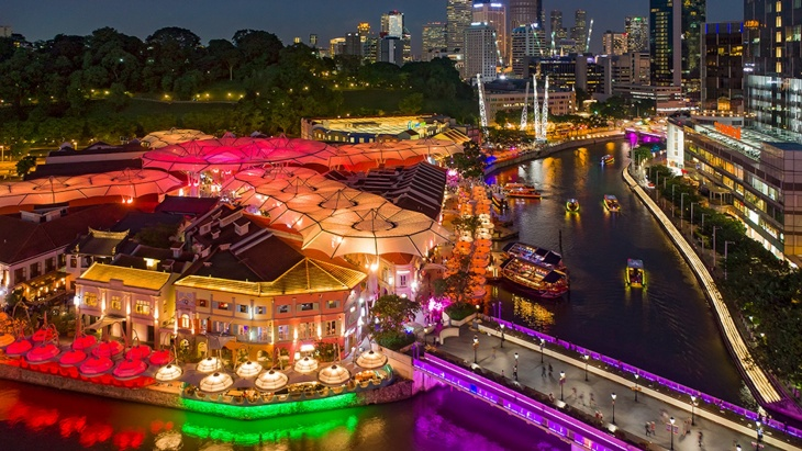 Aerial view of Clarke Quay, Singapore