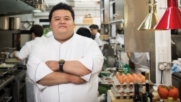 Close up of Chef Jason Tan in his kitchen.