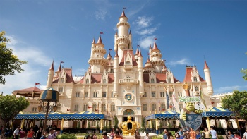 Wide shot of Shrek's castle at Universal Studios Singapore
