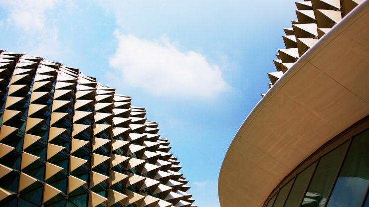 Dubbed 'the Durian' by locals, The Esplanade's twin structures resemble the spiky tropical fruit.