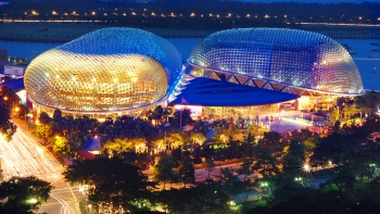 Aerial View of the Esplanade – Theatres on the Bay at night featuring its beautiful colour and architecture