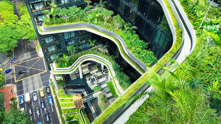 Green features from a bird's eye view of PARKROYAL on Pickering