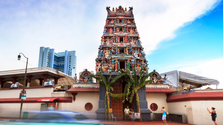 The front façade of the Sri Mariamman Temple