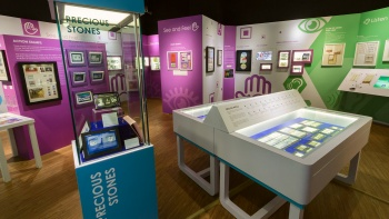 Different exhibits in the gallery of the Singapore Philatelic Museum