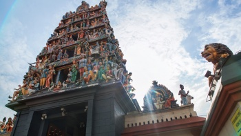 External facade of Sri Mariamman Temple in Chinatown