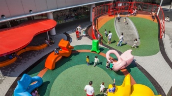 An aerial view of the playground at Vivocity.