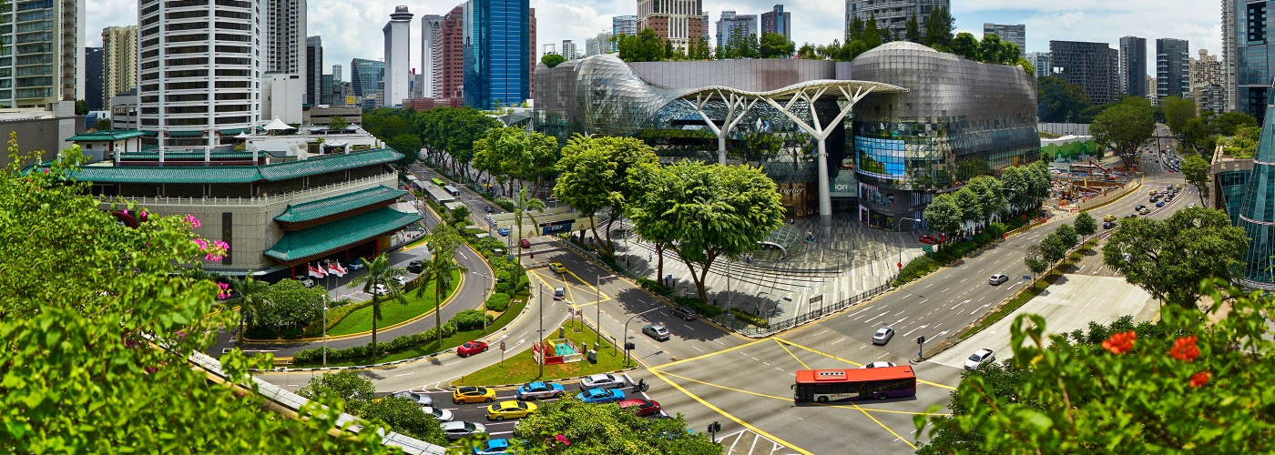 Panoramic shot of Orchard Road junction with Tangs building, ION Orchard and Wisma Atria