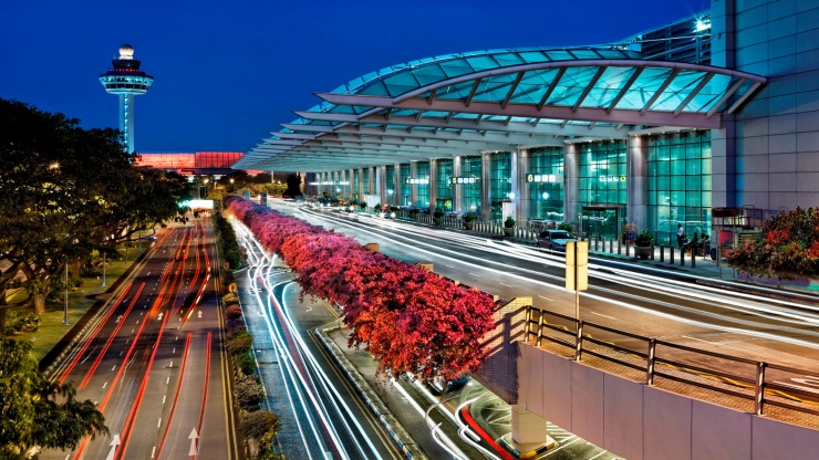 Nightview of Singapore Changi Airport.