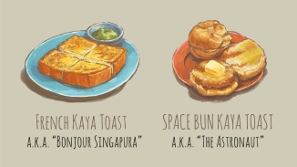 A serving of French Kaya Toast and Space Bun Kaya Toast
