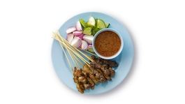 Flat lay image of satay (grilled meat skewers)