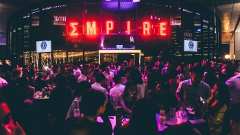 Night crowd at Empire rooftop bar