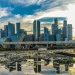 Sunset view of the Marina Bay skyline, reflected on the lotus pond outside the ArtScience museum