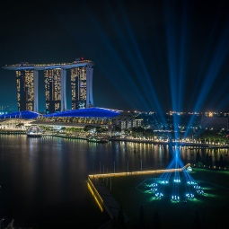 Fireworks shot with Singapore skyline in the background