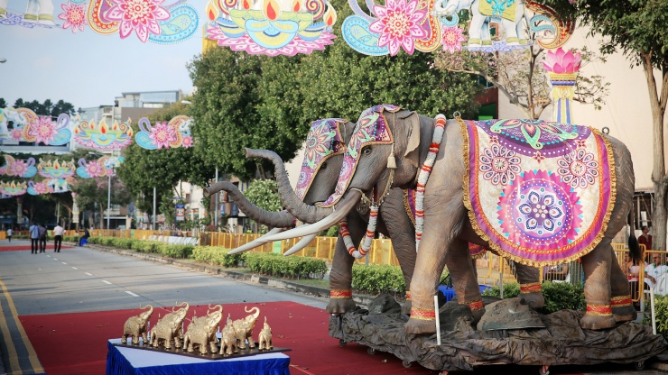 Elephant statues along streets of Little India in the day