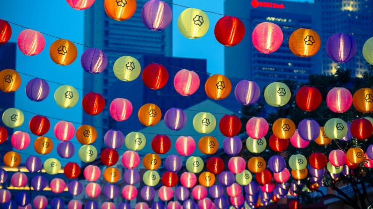 Lanterns all a-glow during the Mid-Autumn Festival, Chinatown.