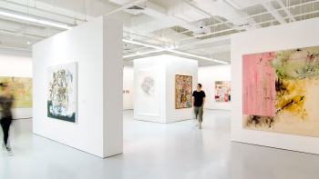 Patrons viewing the artwork on display at the Institute of Contemporary Arts Singapore