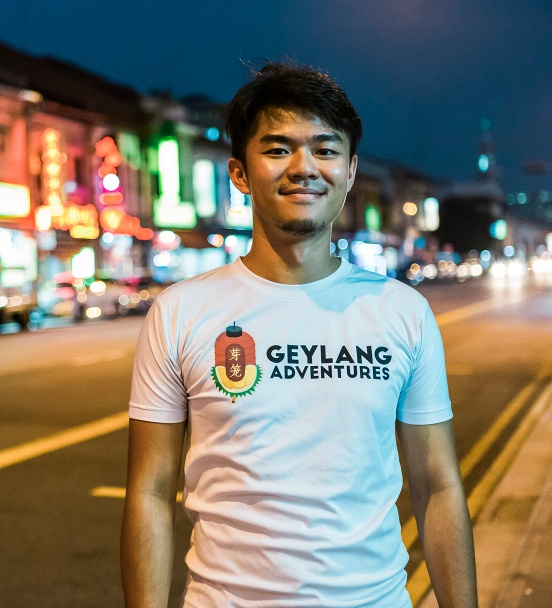 Cai Yinzhou, a tour guide of Geylang Adventures along Geylang Road