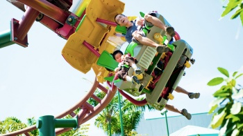Visitors on a roller coaster at Universal Studios Singapore