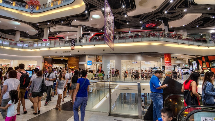Interior of Bugis Junction ground floor's shops and push carts