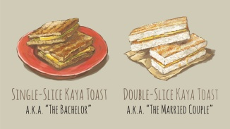 A serving of Single-slice Kaya Toast and Double-slice Kaya Toast