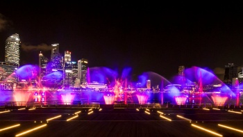 A myriad of colours at Spectra, a water and light show at Marina Bay