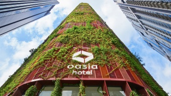 Top down exterior shot of Oasia Hotel Downtown