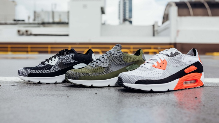 Three types of knit sneakers from Nike.