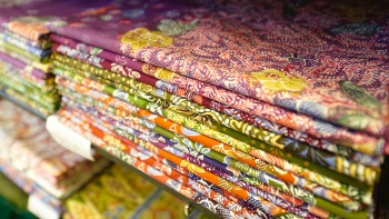 A stack of batik cloths