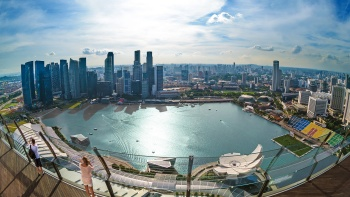 Stunning view of the Singapore skyline, and the Bayfront area from the SkyPark® of Marina Bay Sands®