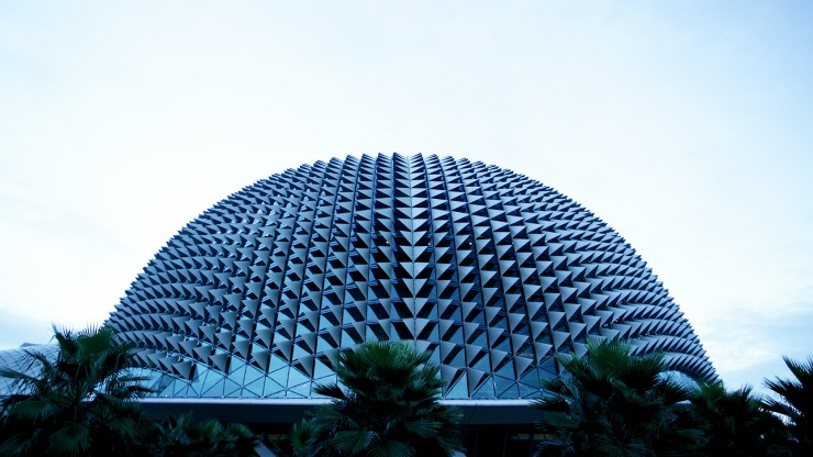 The architecture of Esplanade Theatres on the Bay resembles that of the durian fruit.