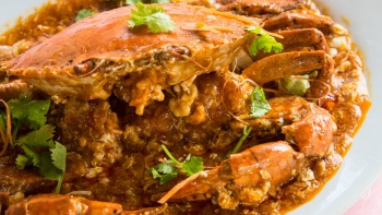 A plate of chilli crab