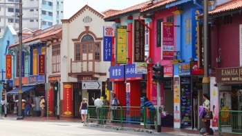 Row of shophouses along Little India, Singapore